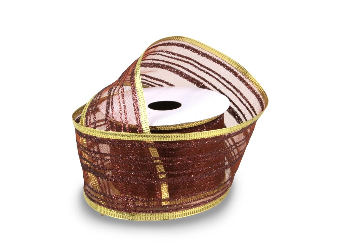 Dárková dekorační stuha síťovaná čokoládová
