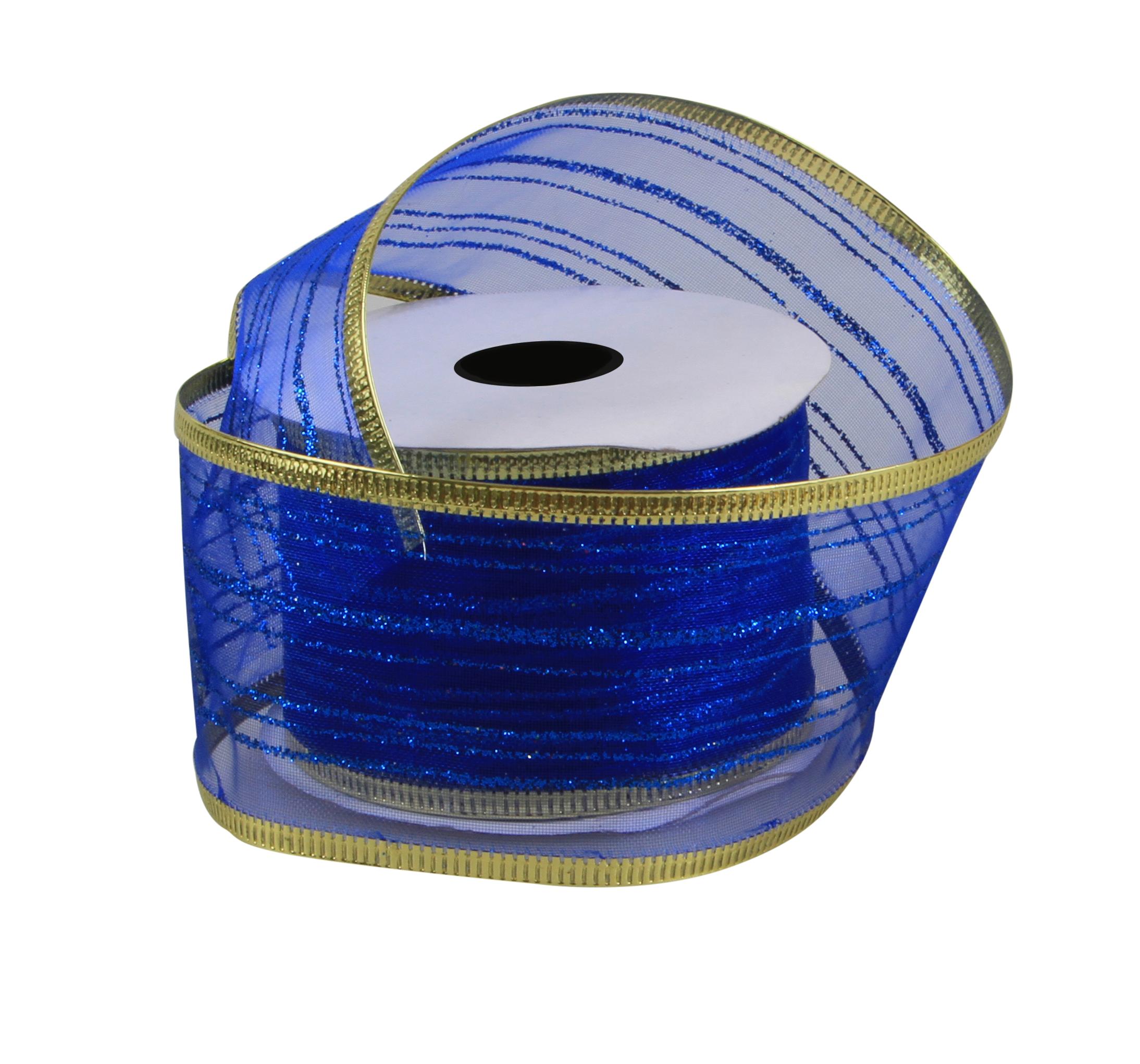 Dárková dekorační stuha síťovaná s ozdobným motivem námořní modrá