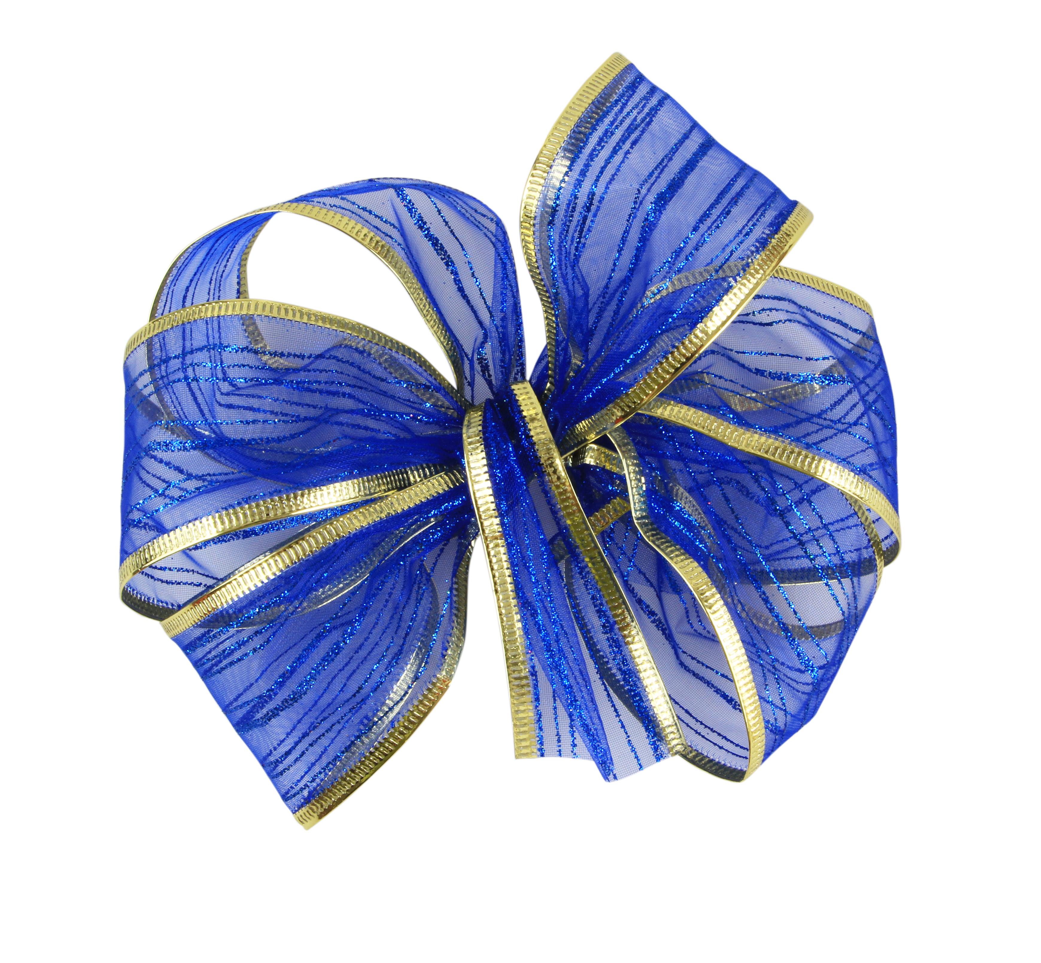DA15961-Darčeková dekoračné stuha sieťovaná s ozdobným motívom námornej modrá