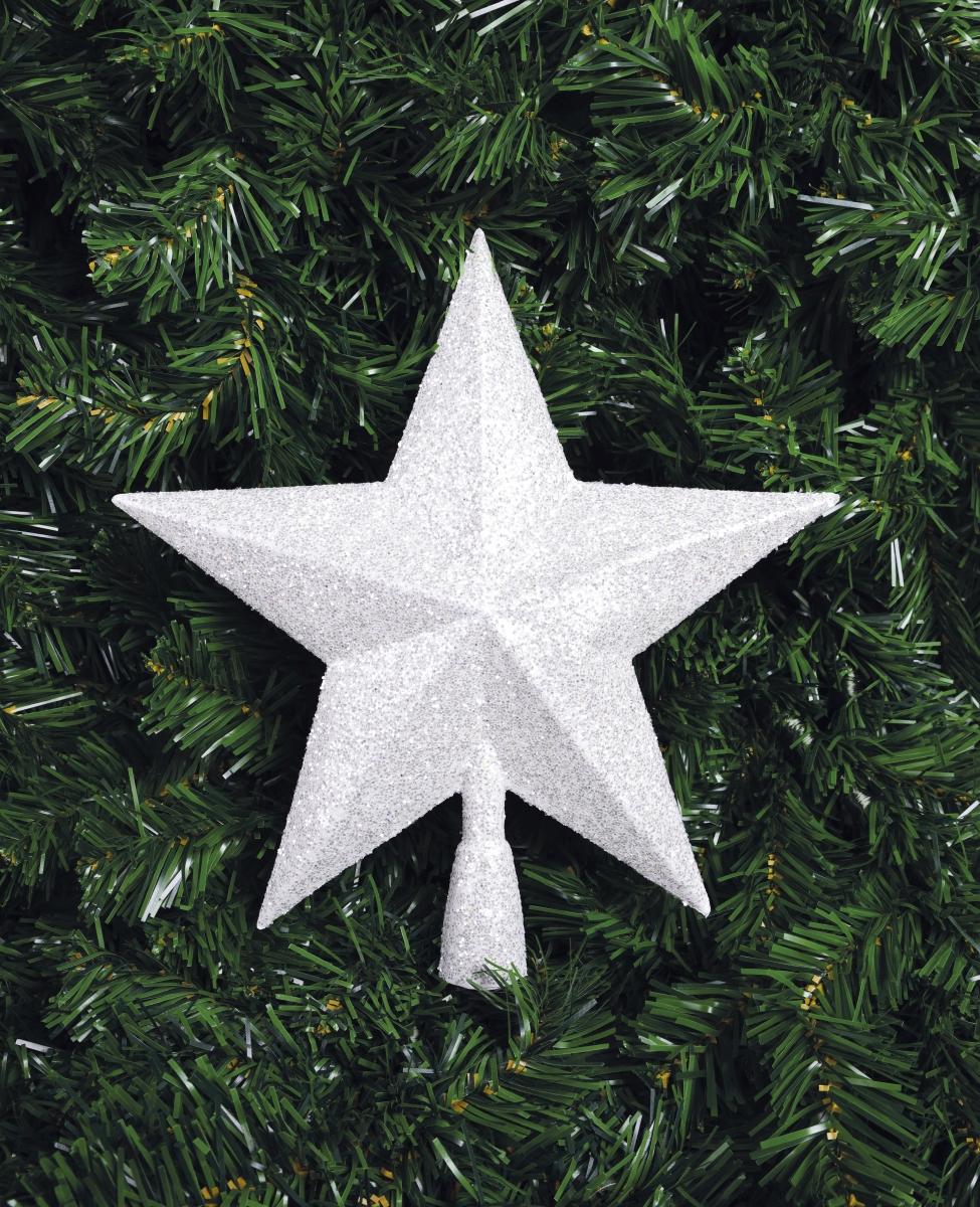 Špice na vánoční stromek, ve tvaru hvězdy, bílá
