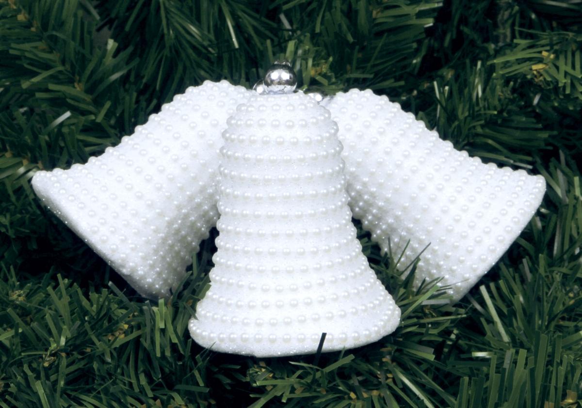 3 ks bílých zvonků třpytivých s perlovou přízdobou