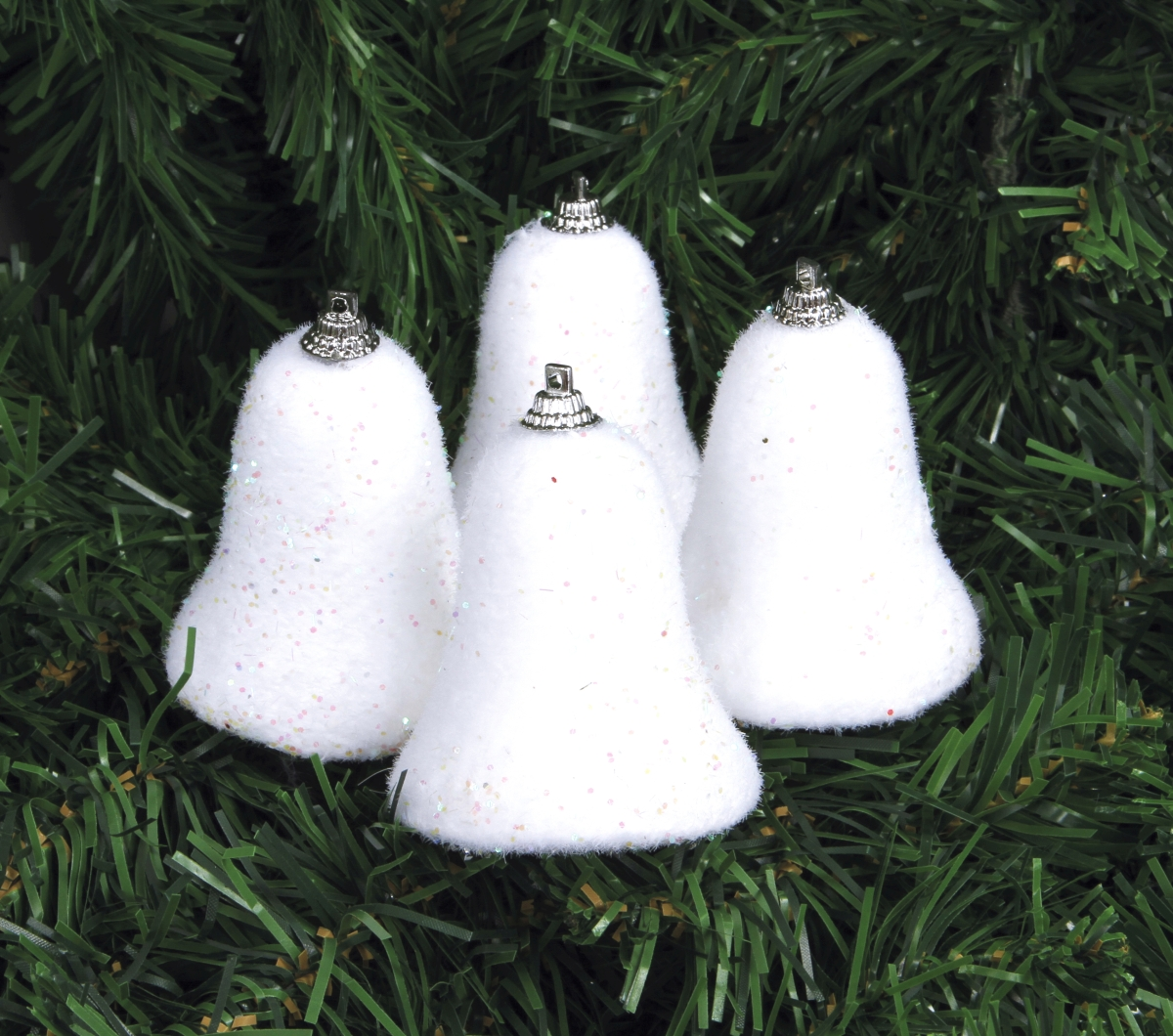 4 ks bílých zvonků, se třpytkami