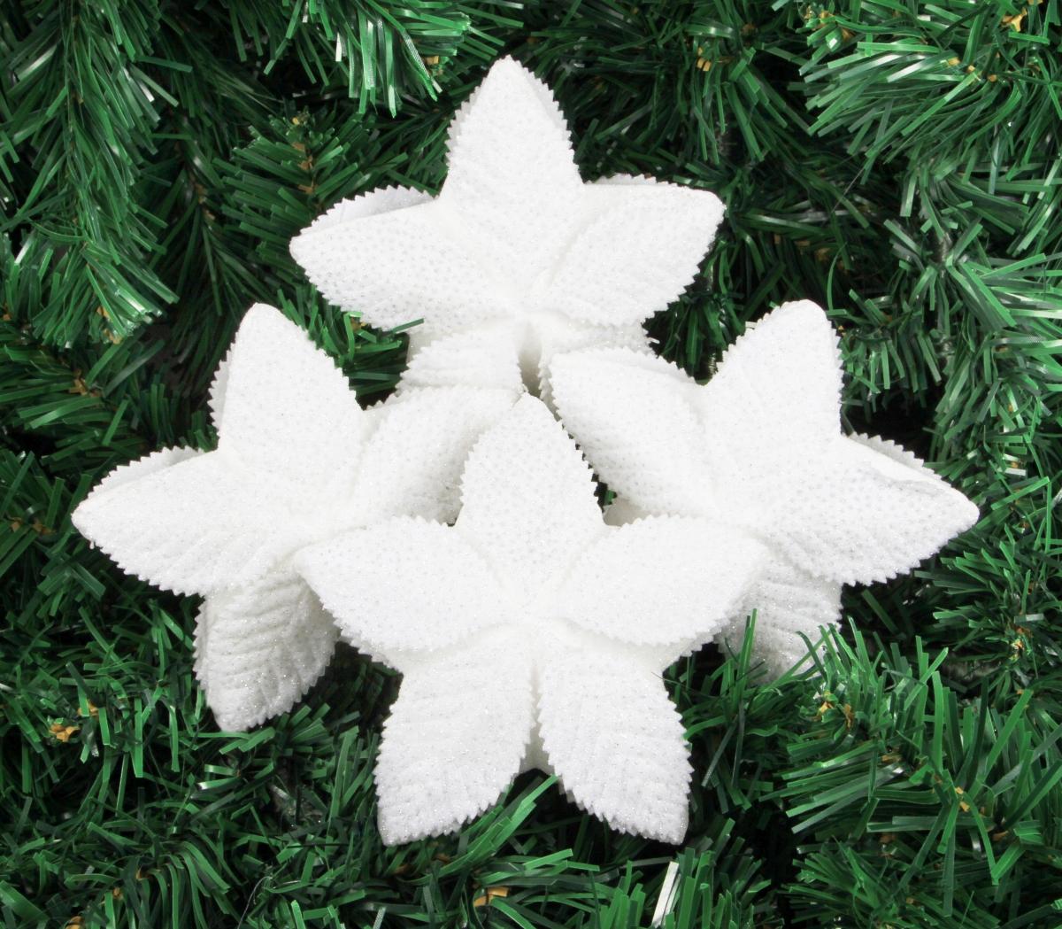 4 ks hvězdiček sněhově bílých (11 cm!)