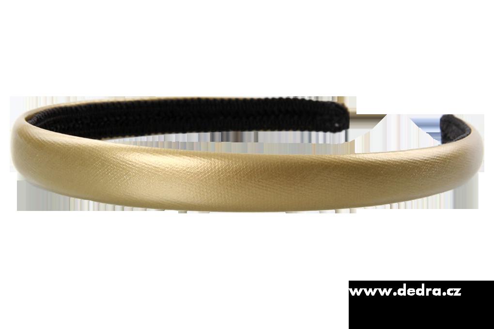 Čelenka do vlasů potaž. lesk. ekokůží zlatá, š.: 1,5 cm