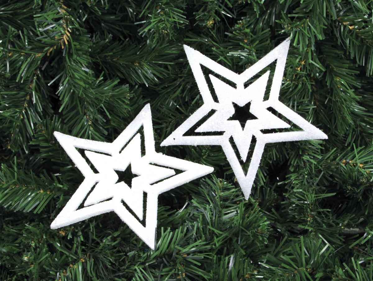2 ks bílých velkých hvězd s třpytivým finišem 17 cm
