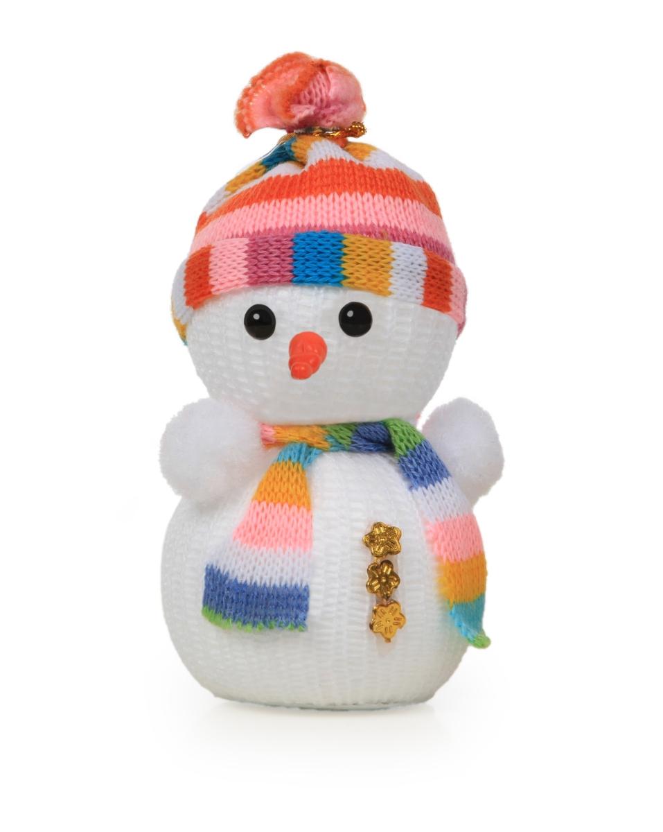 Sněhulák s pletenou aplikací výška 14 cm
