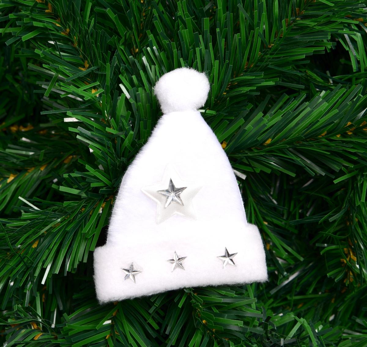 Sametový bílý kulich s aplikací hvězd 10 cm
