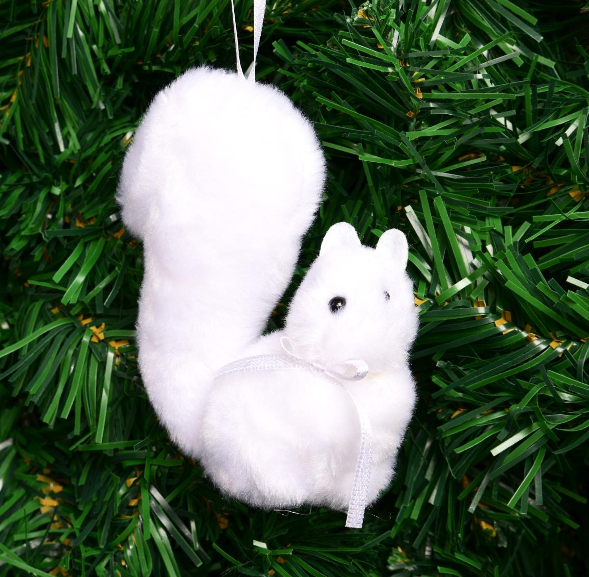 Sametová bílá veverka 10,5 cm