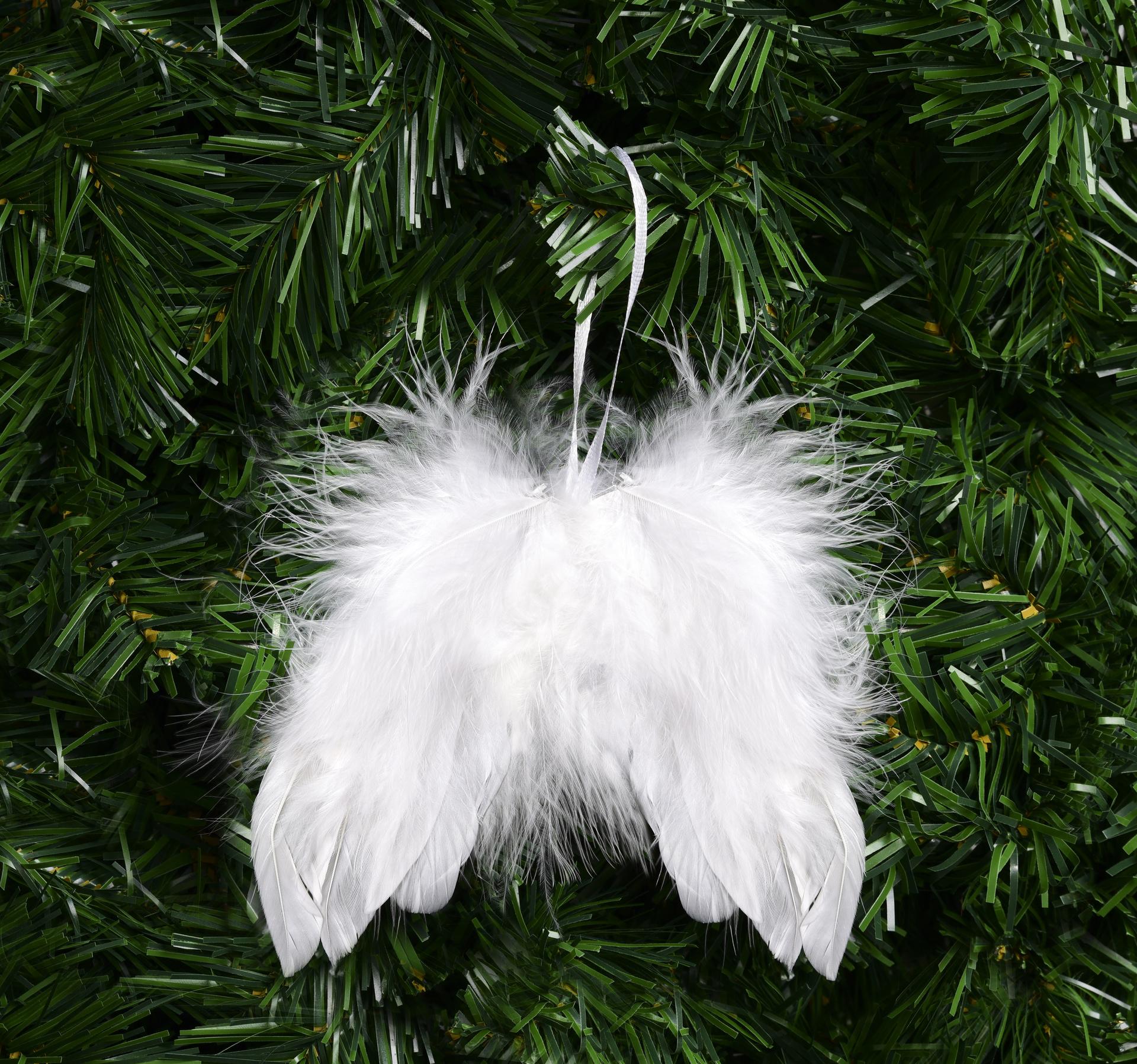 Andělská křídla zdobená jemnými pírky
