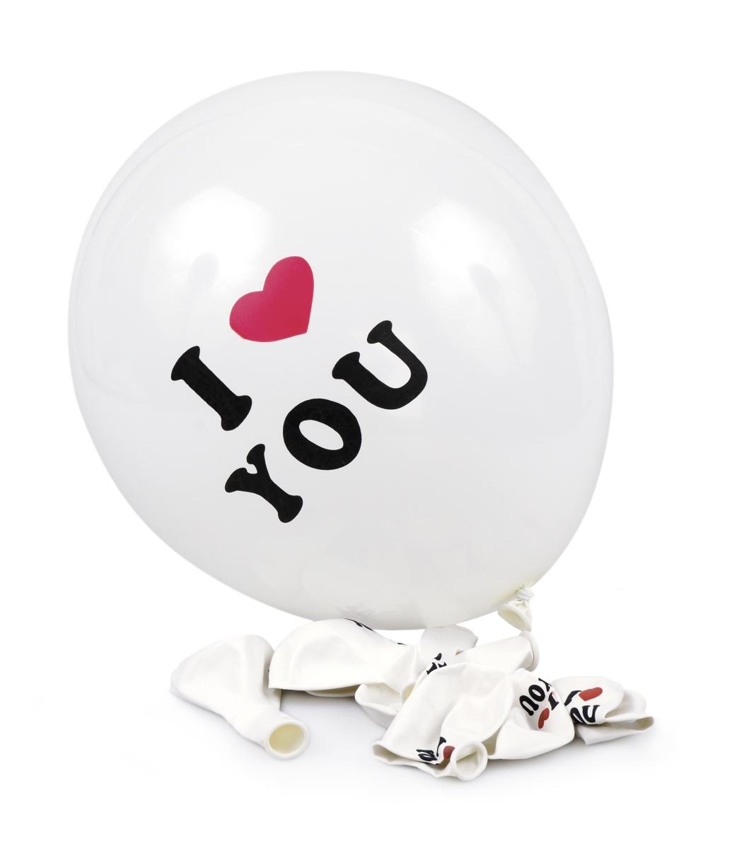 8 ks nafukovací balónky potištěné s nápisem I LOVE YOU