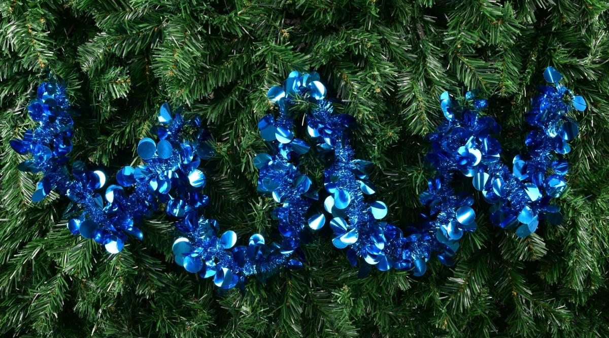 Modrý široký řetěz na vánoční dekorace délka 195 cm