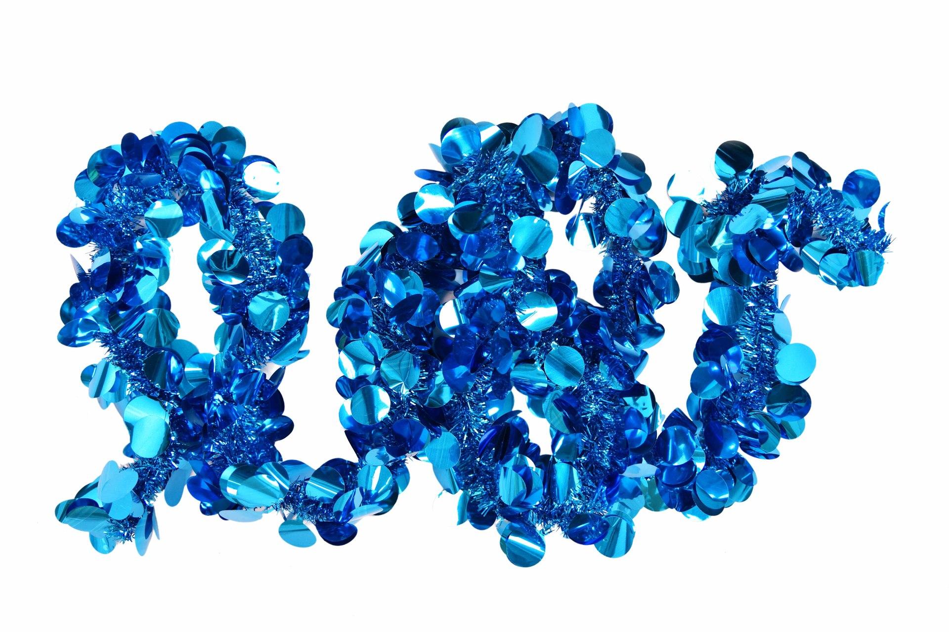Modrý široký řetěz, na vánoční dekorace