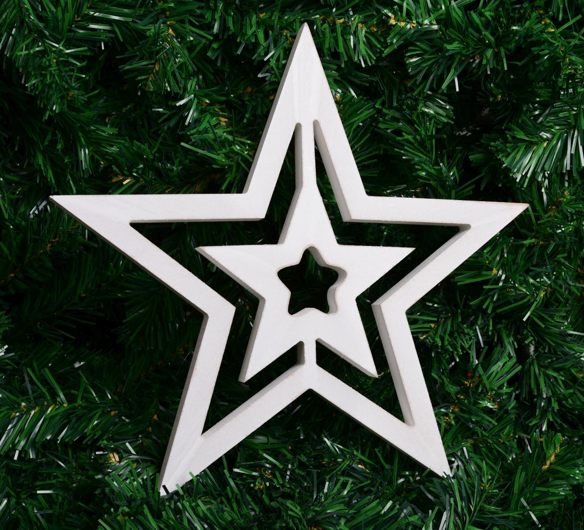 31 cm Dřevěná hvězda  s bílou patinou