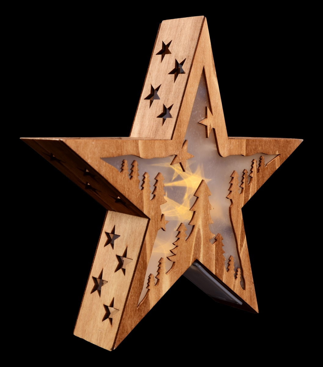 28 cm Svítící hvězda  dřevěná  s motivem lesa