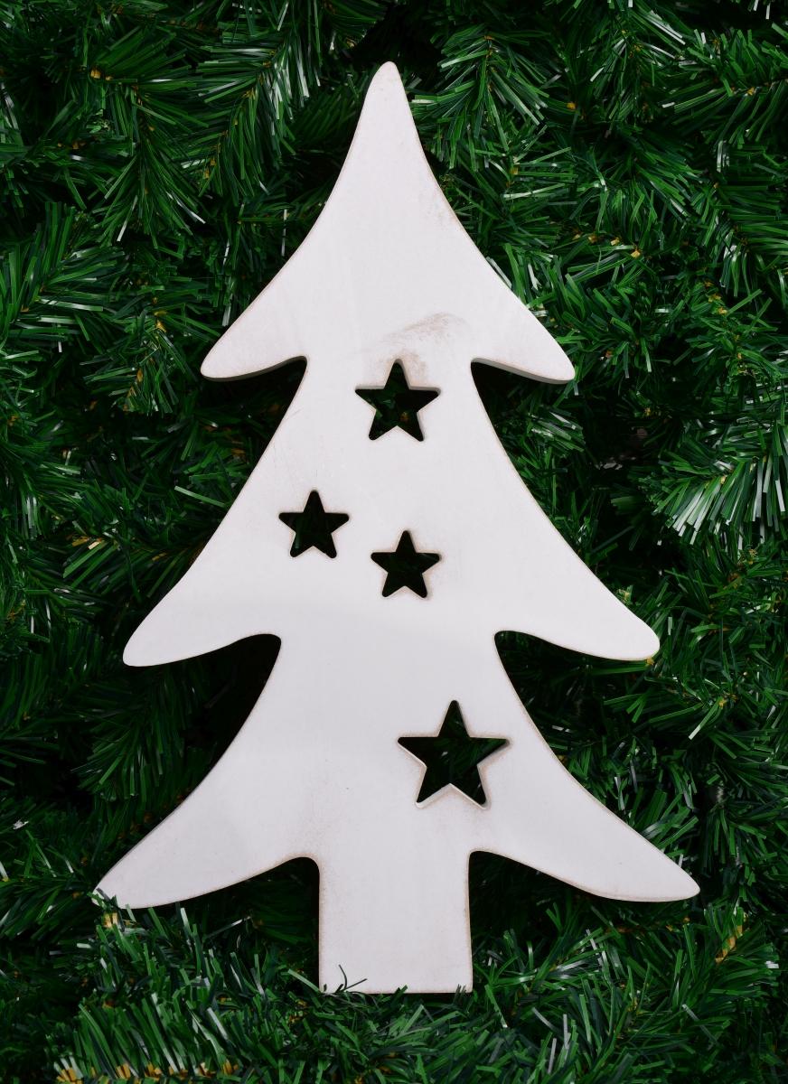 40 cm Dřevěný stromek s bílou patinou