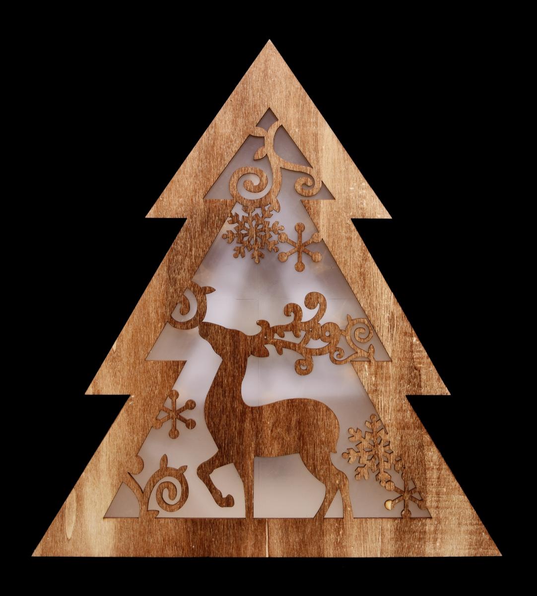 32 cm LED svítící stromek  dřevěný s motivem jelena