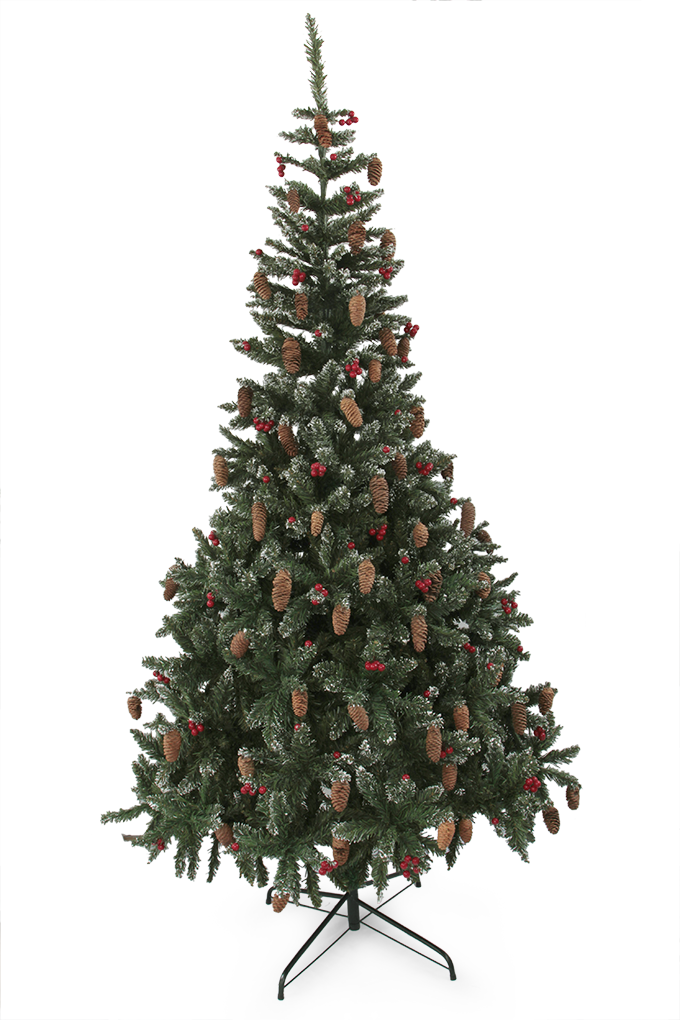 150 cm Zelený smrk, s přízdobou šišek, červených bobulí a sněhu