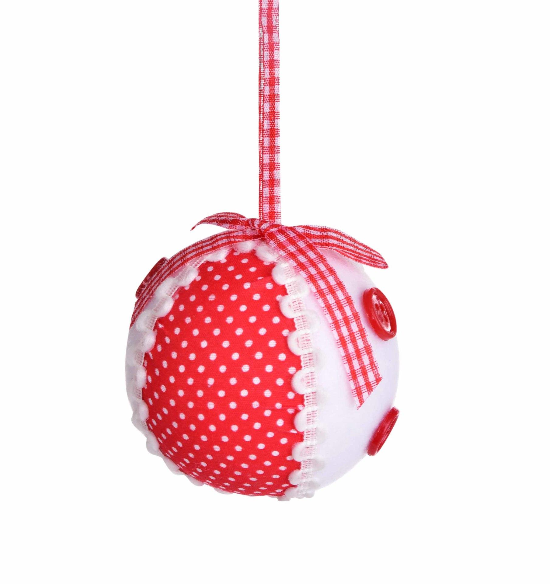 1 ks bílá koule s ozdobnou červenou látkou , 7 cm