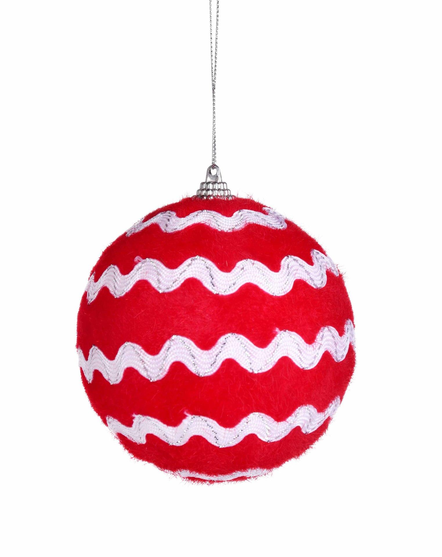 1 ks červená koule, s textilní stuhou