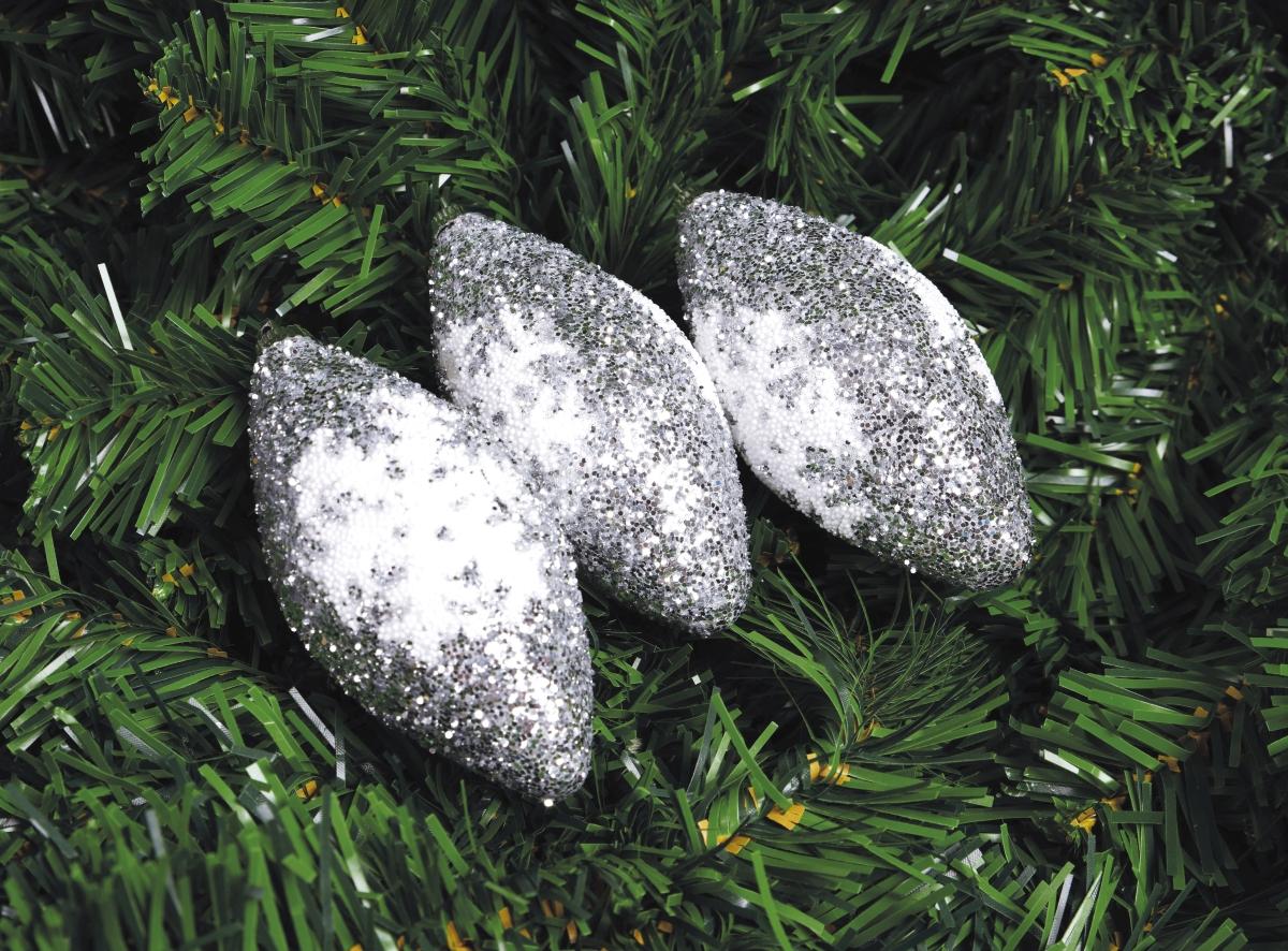3 ks třpytivé šišky se sněhovou vločkou