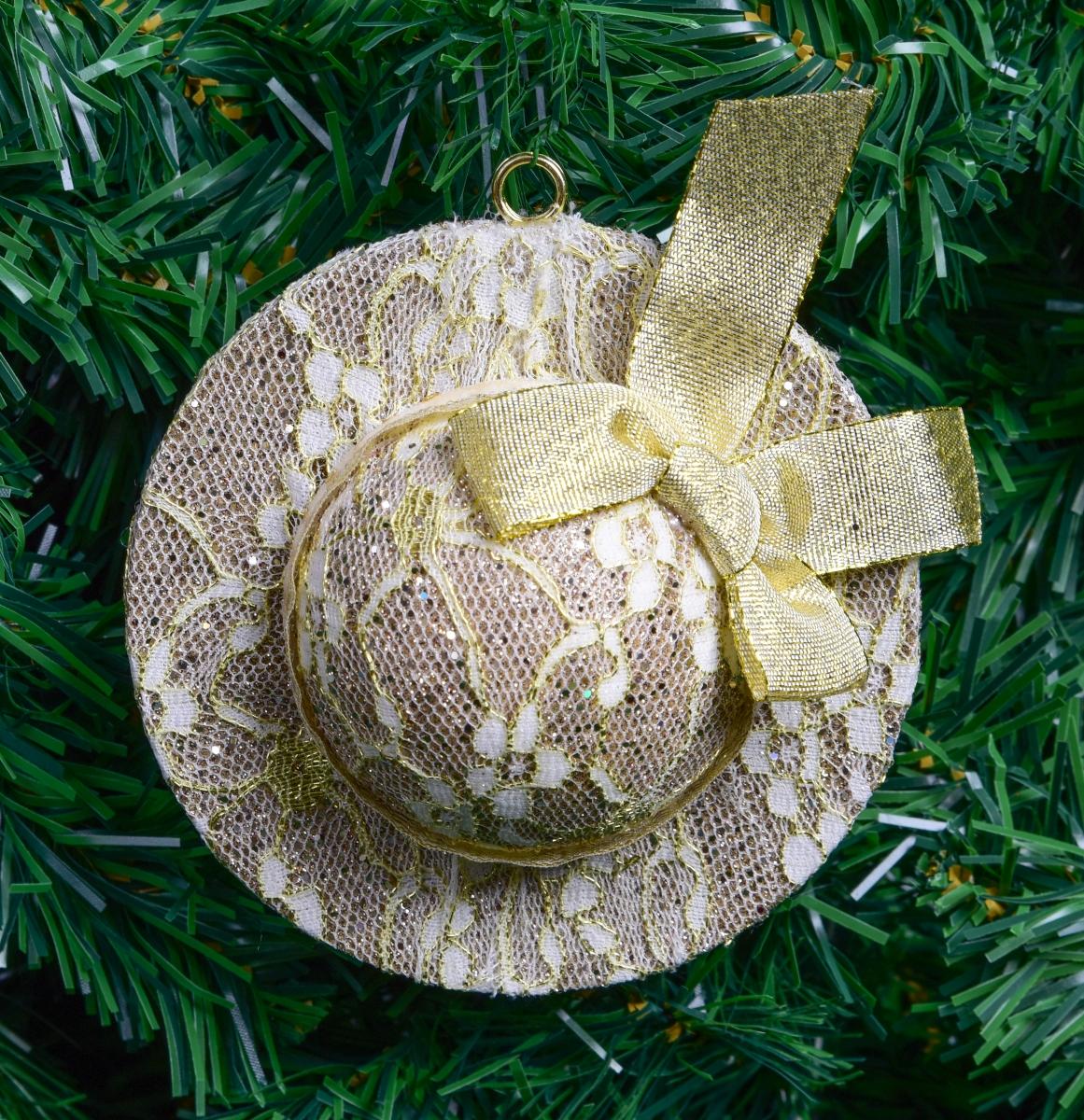 Klobouček Platinovo-zlatý 12 cm