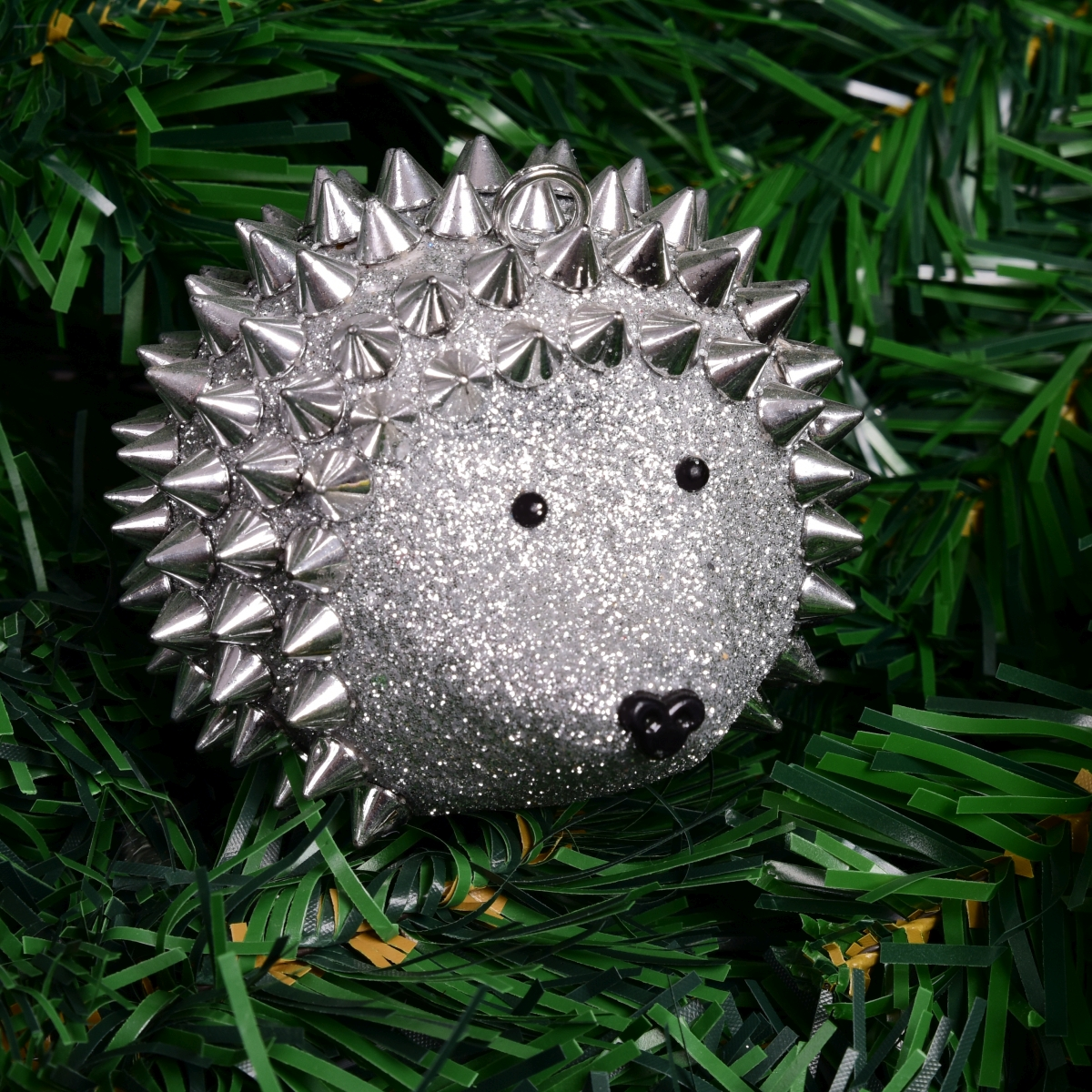 Vánoční ježek stříbrný, bohatě zdobený třpytkami 8 cm
