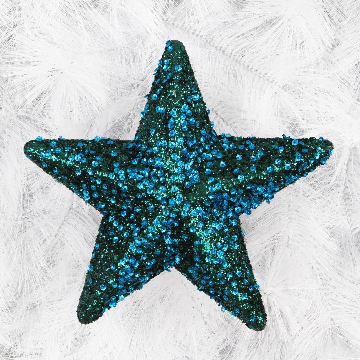 Velká 25 cm hvězda do okna, zdobená pajetkami