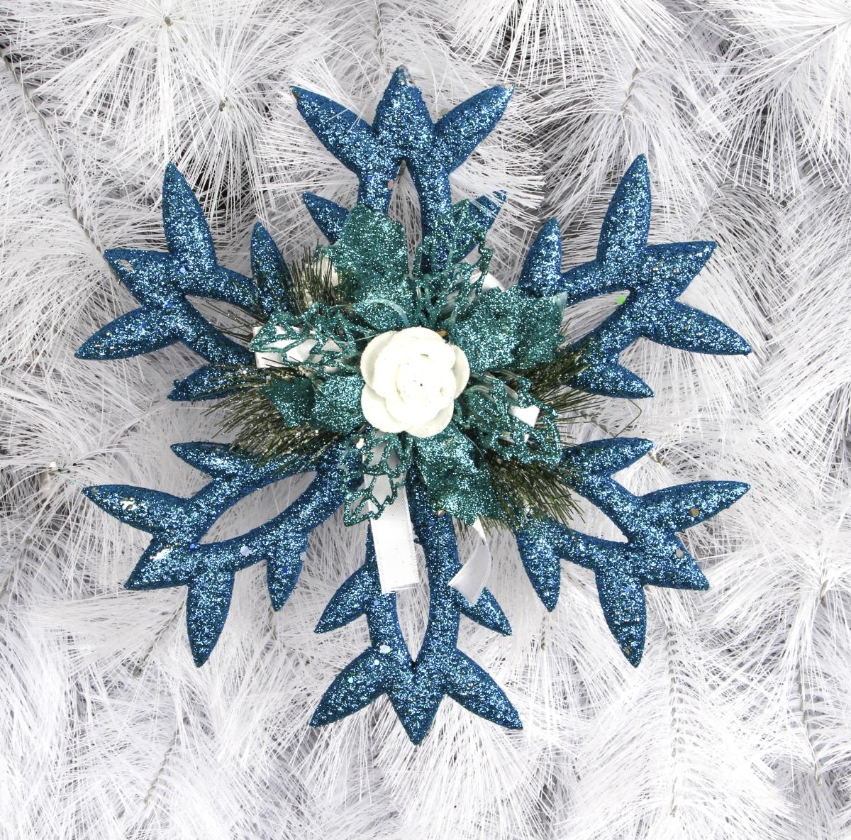 Závěsná modrá dekorace, ve tvaru vločky