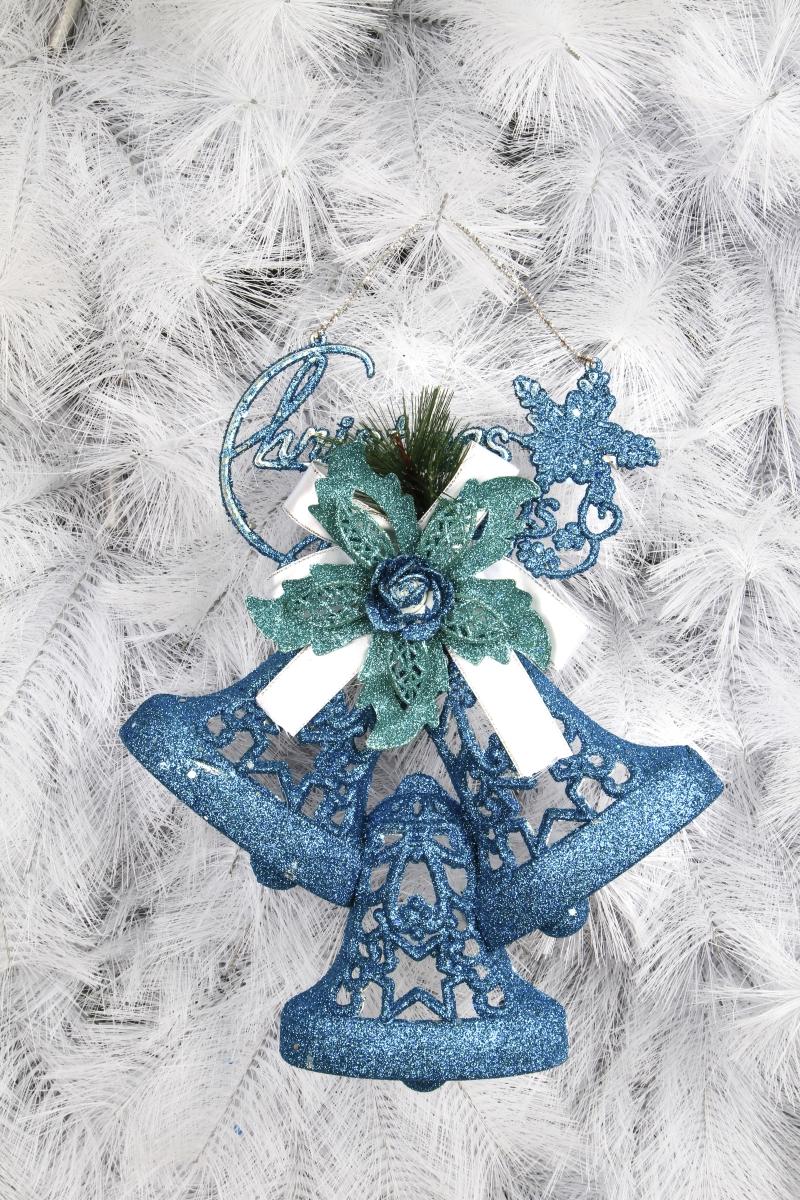 Závěsná modrá dekorace ve tvaru tří zvonků