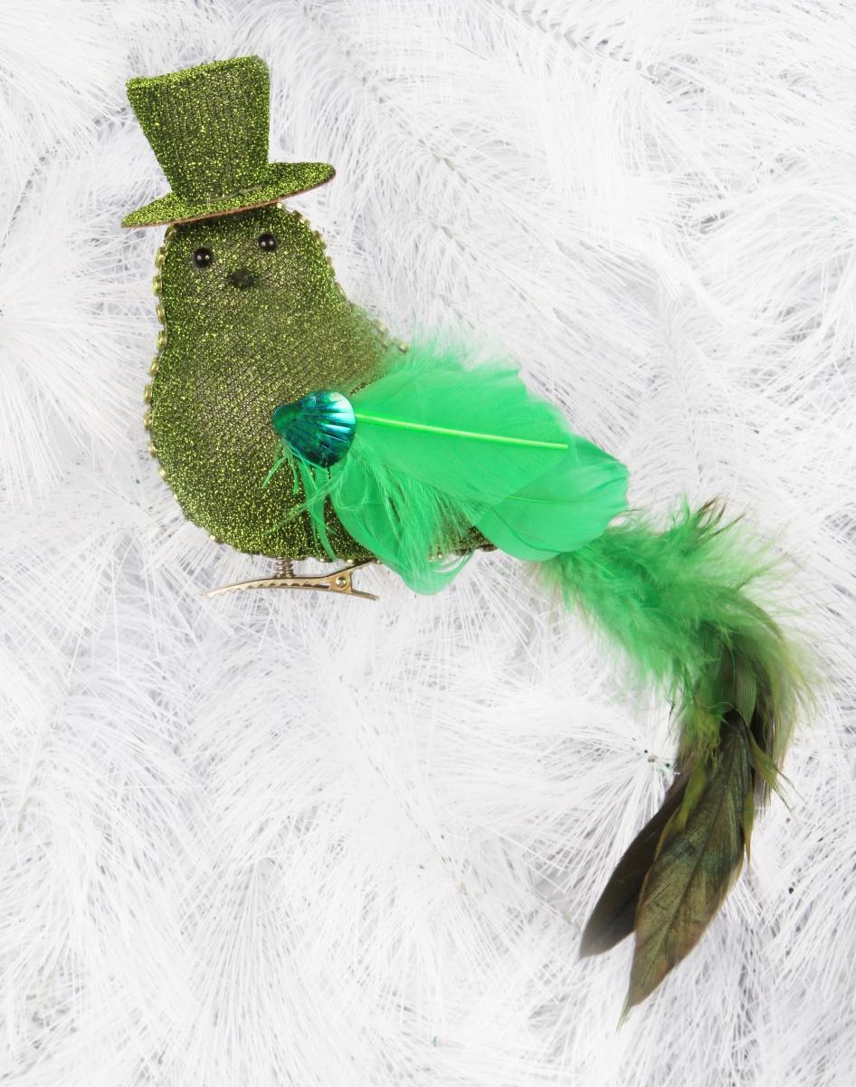 Lesklý ptáček v kloboučku s jemnými pírky