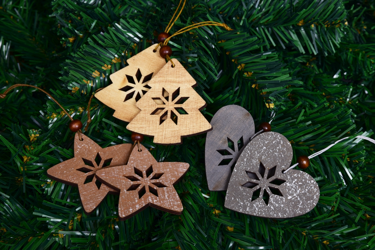 6 ks kolekce ozdob, vánoční, dřevěné