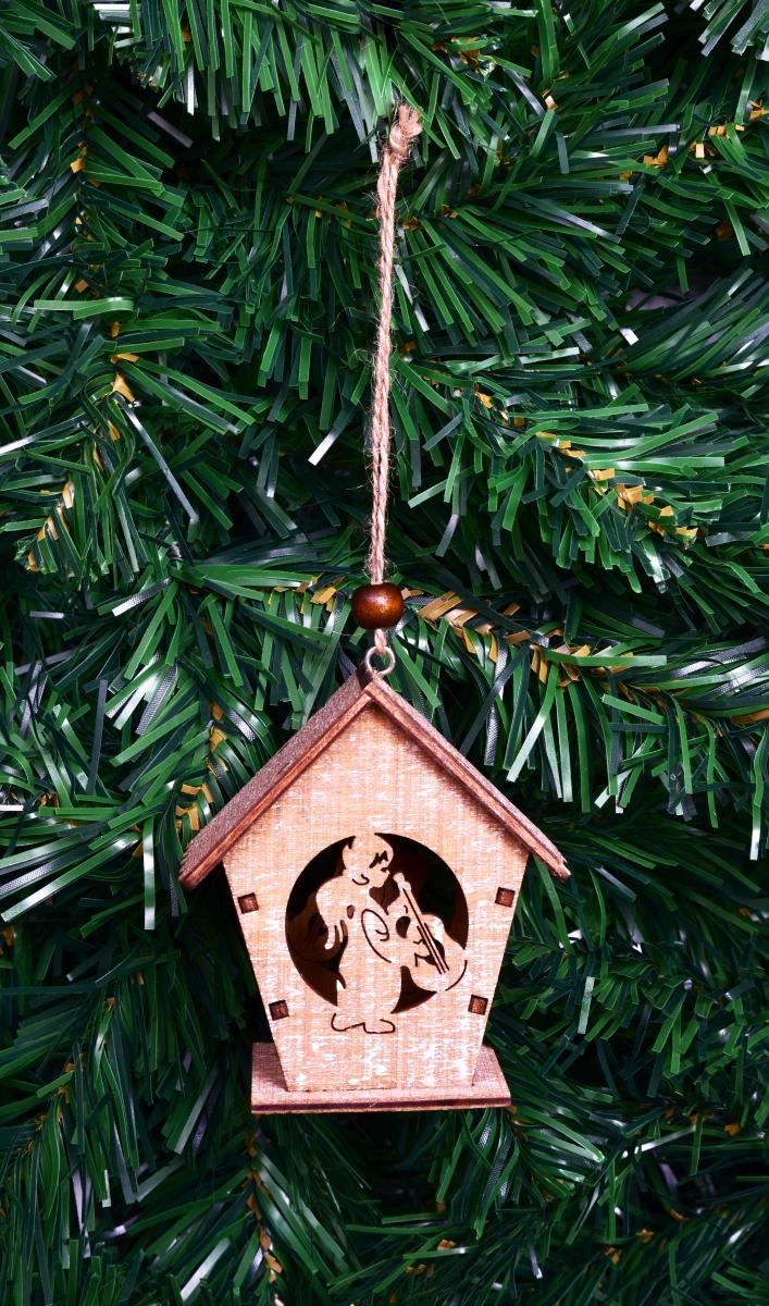 Dřevěný dekorativní domek, s andělíčkem