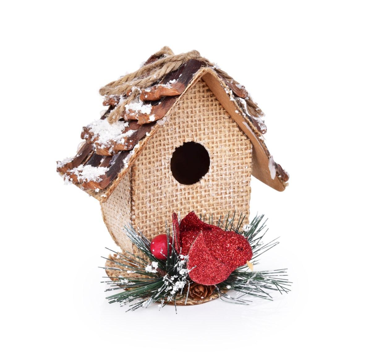 10 cm vysoká ptačí budka, závěsná vánoční ozdoba na stromek