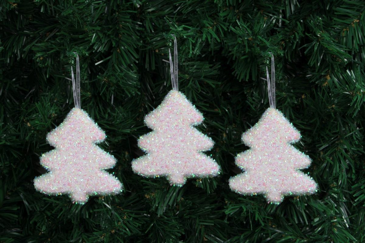 3 ks sněhově bílých stromečků 9 cm