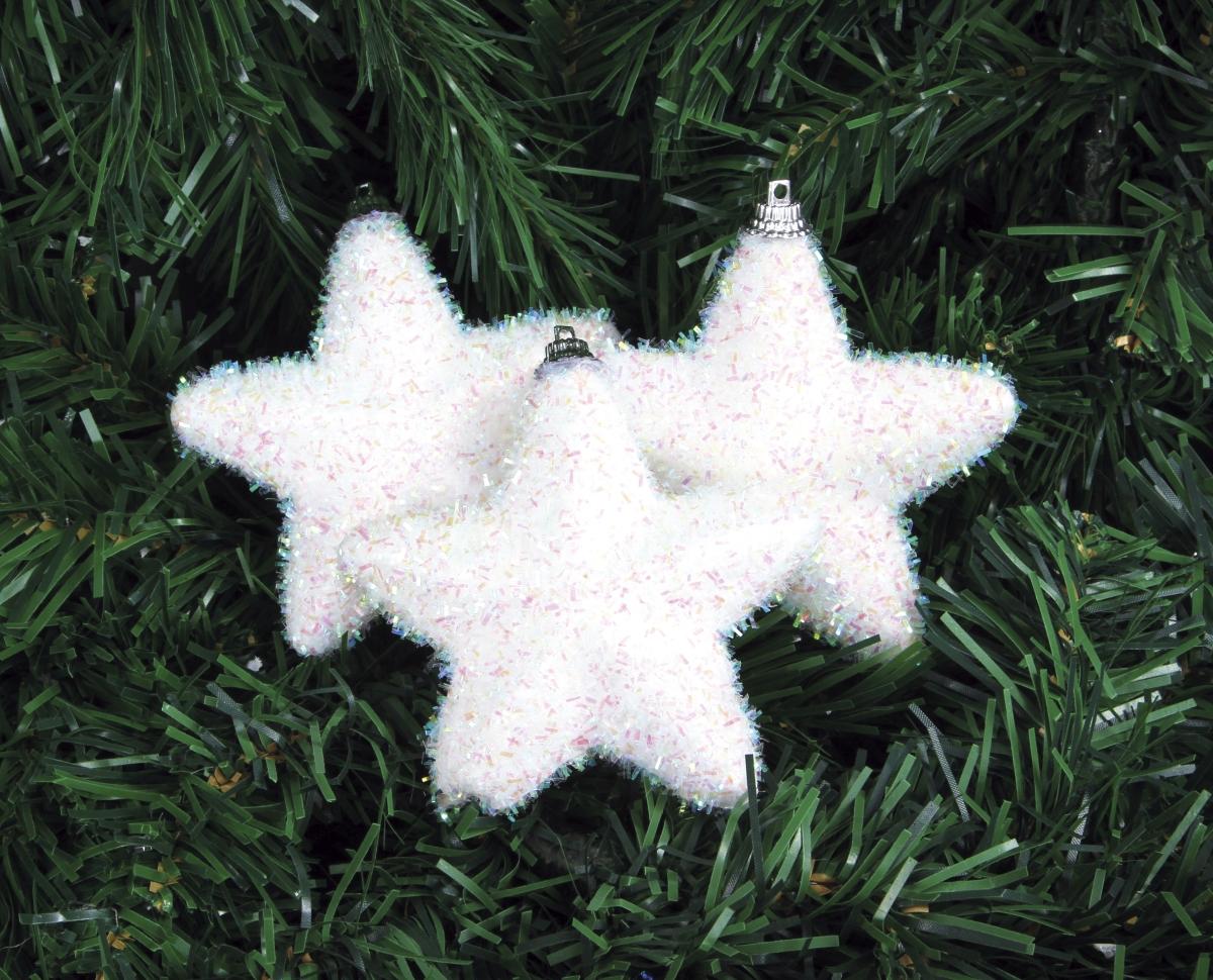 3 ks sněhově bílých hvězdiček