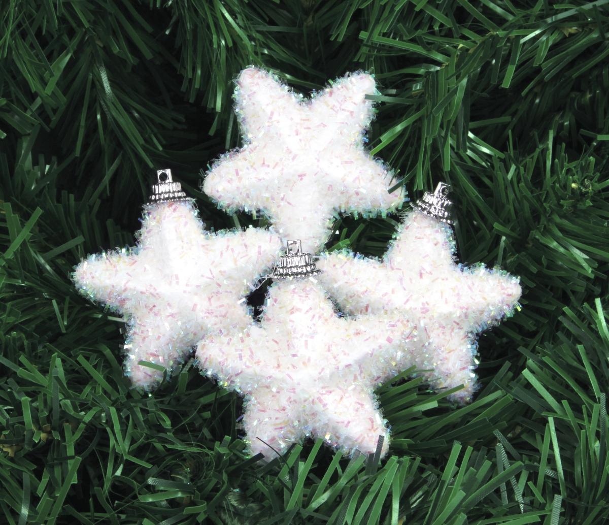 4 ks sněhově  bílých hvězdiček