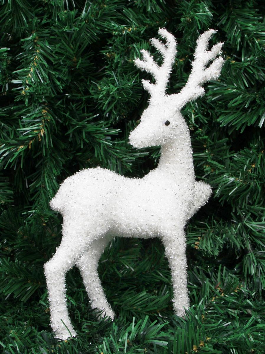 34 cm Bílý jelen  se stříbrnými lametkami