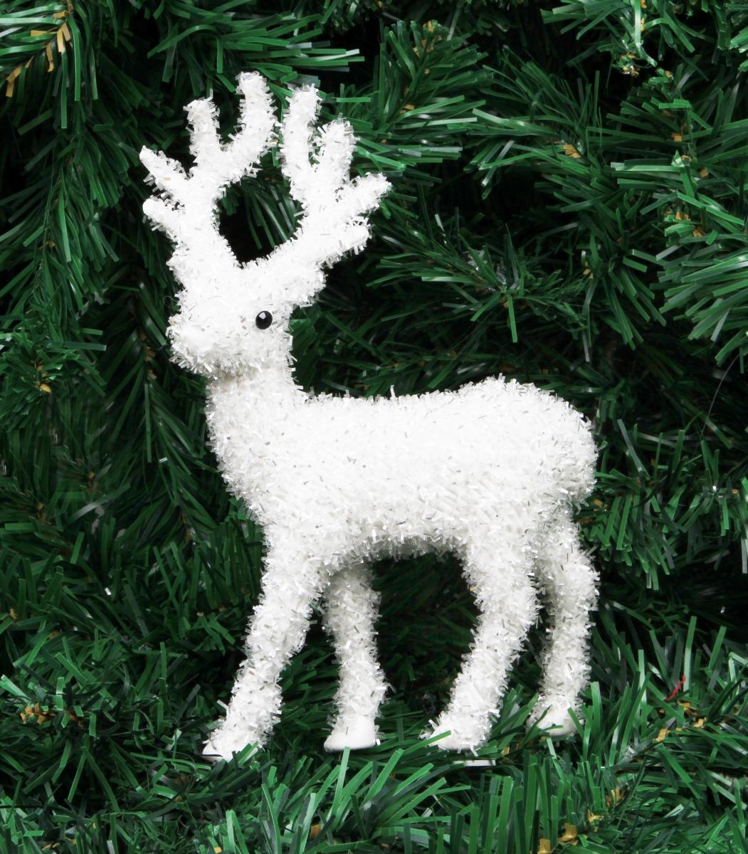 Bílý jelen  se stříbrnými lametkami 21 cm