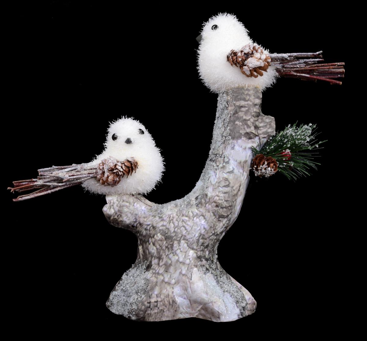 Dva sněhobílí ptáčci na větvi, 26 cm