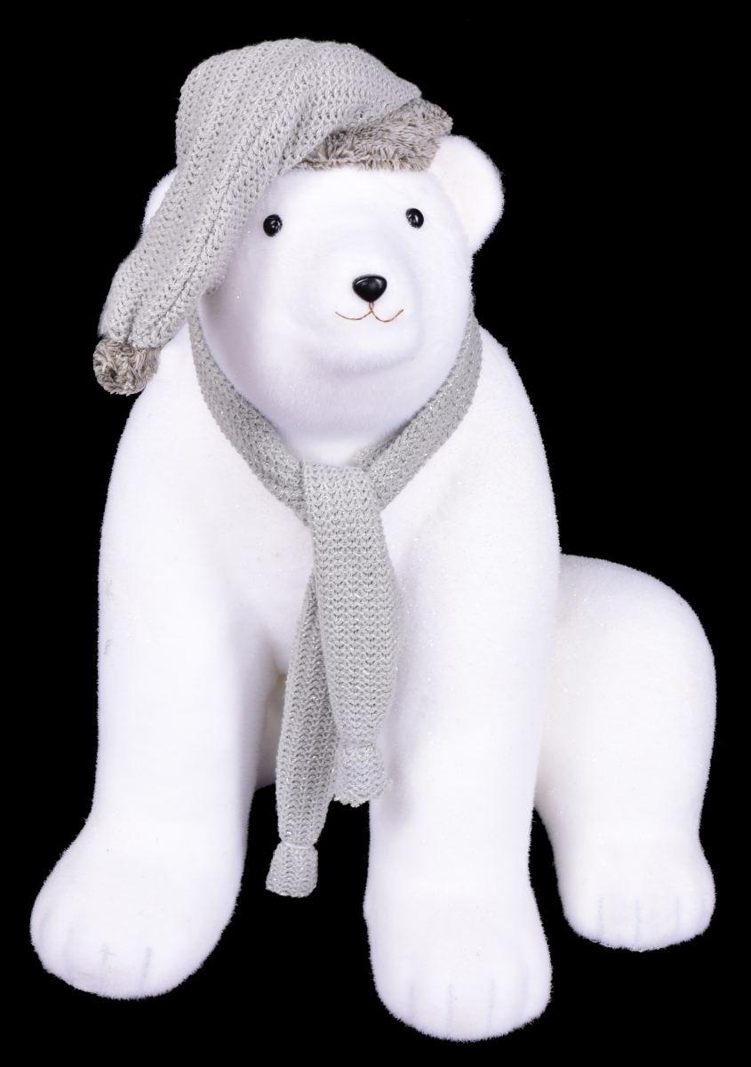 66 cm Sedící lední medvěd, s pletenou čepicí a šálou