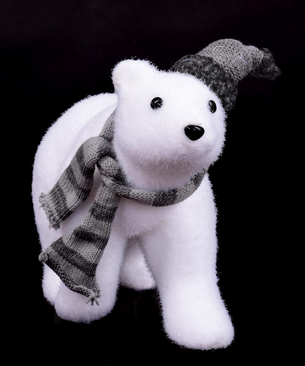 Lední medvěd s pletenou čepicí 32 cm