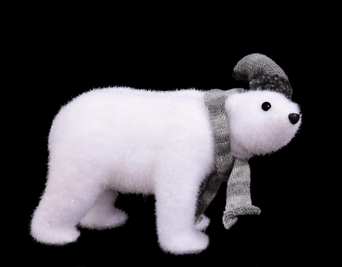 Lední medvídek, s pletenou čepicí