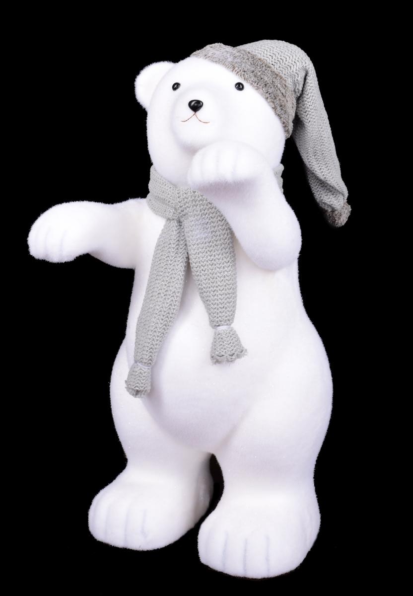 75 cm XXL lední medvěd, s pletenou čepicí a šálou
