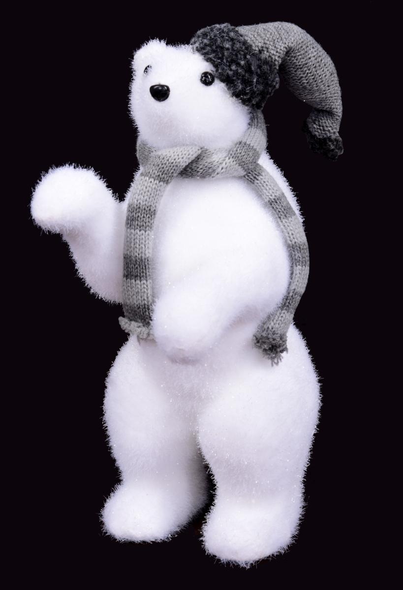 Lední medvěd s čepicí 30 cm