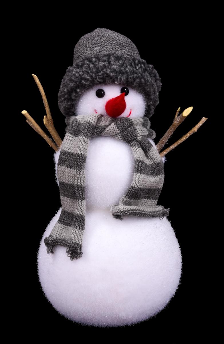 Sněhulák v pletené čepici a šále 34 cm