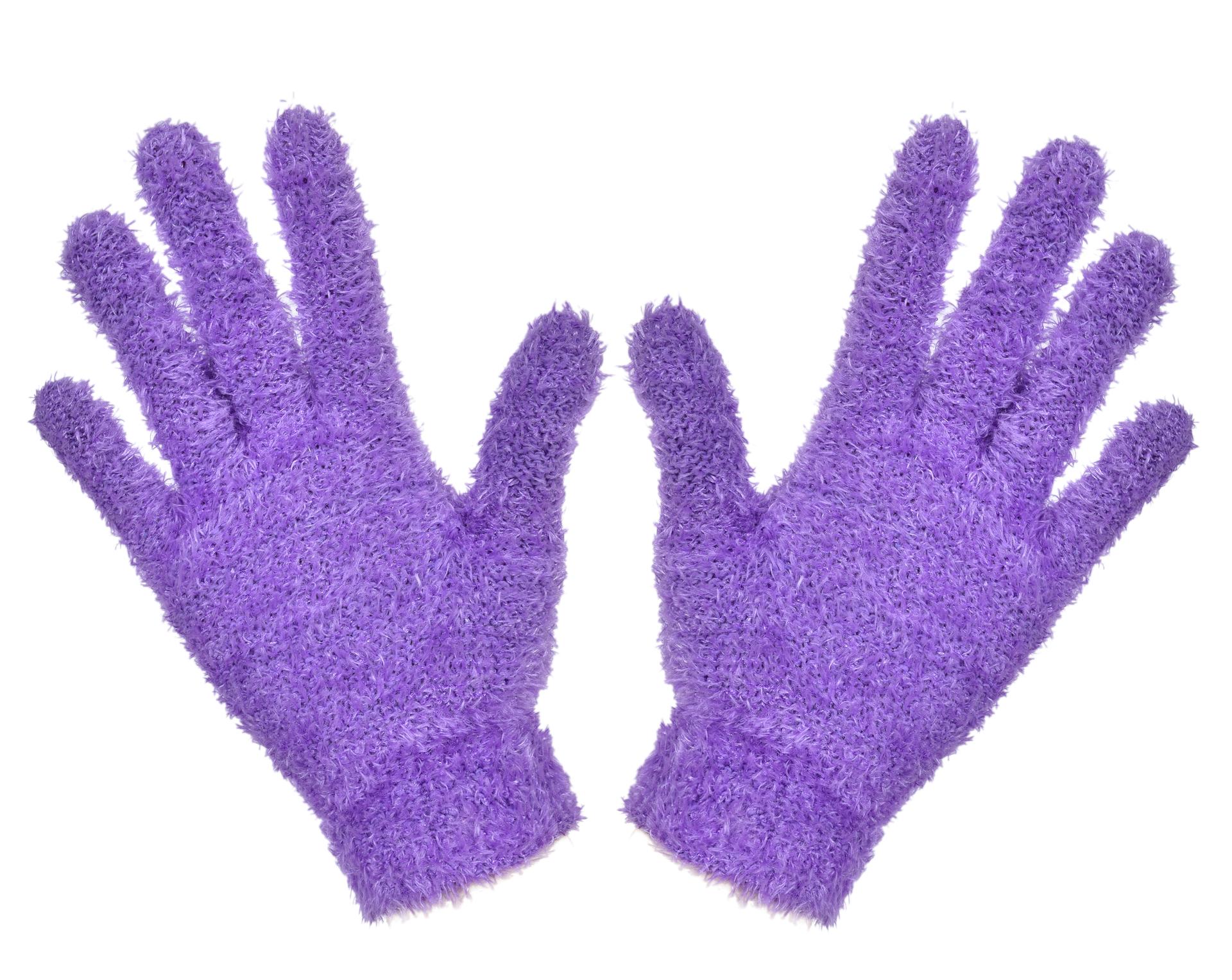 Žinylkové rukavice hřejivé, fialové