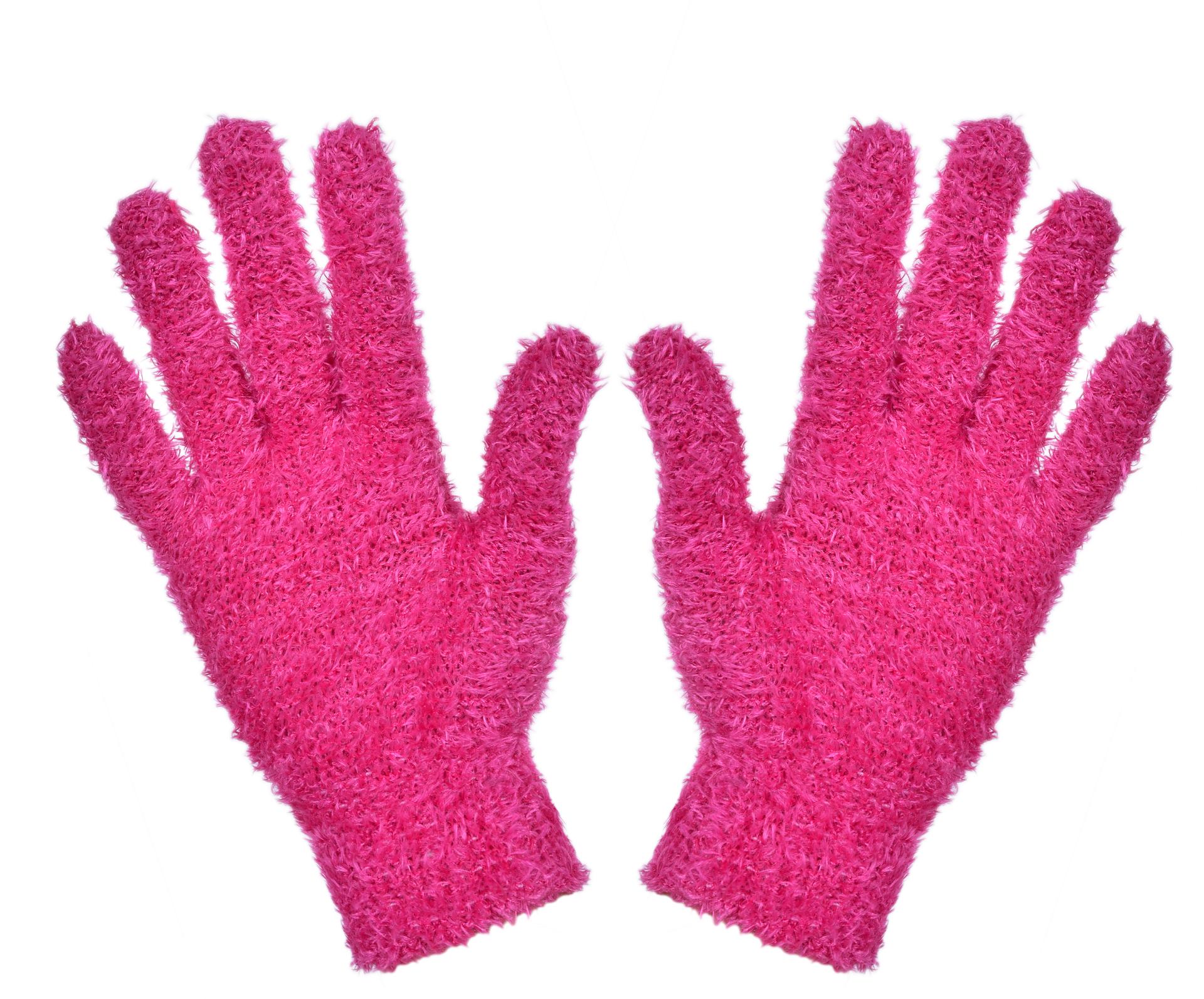 Žinylkové rukavice hřejivé, fuchsiové