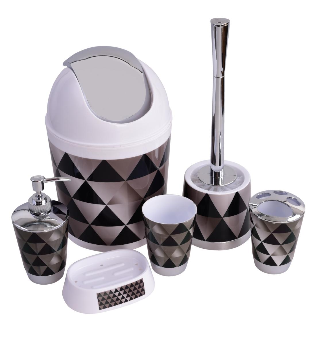 6 dílný koupelnový set  black&white