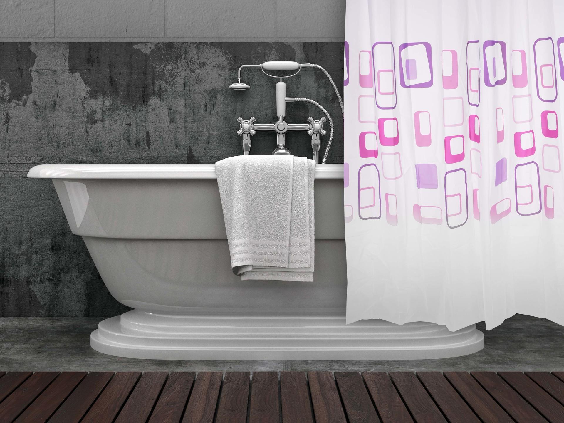 Koupelnový závěs, s dekorativním potiskem RETRO 60th