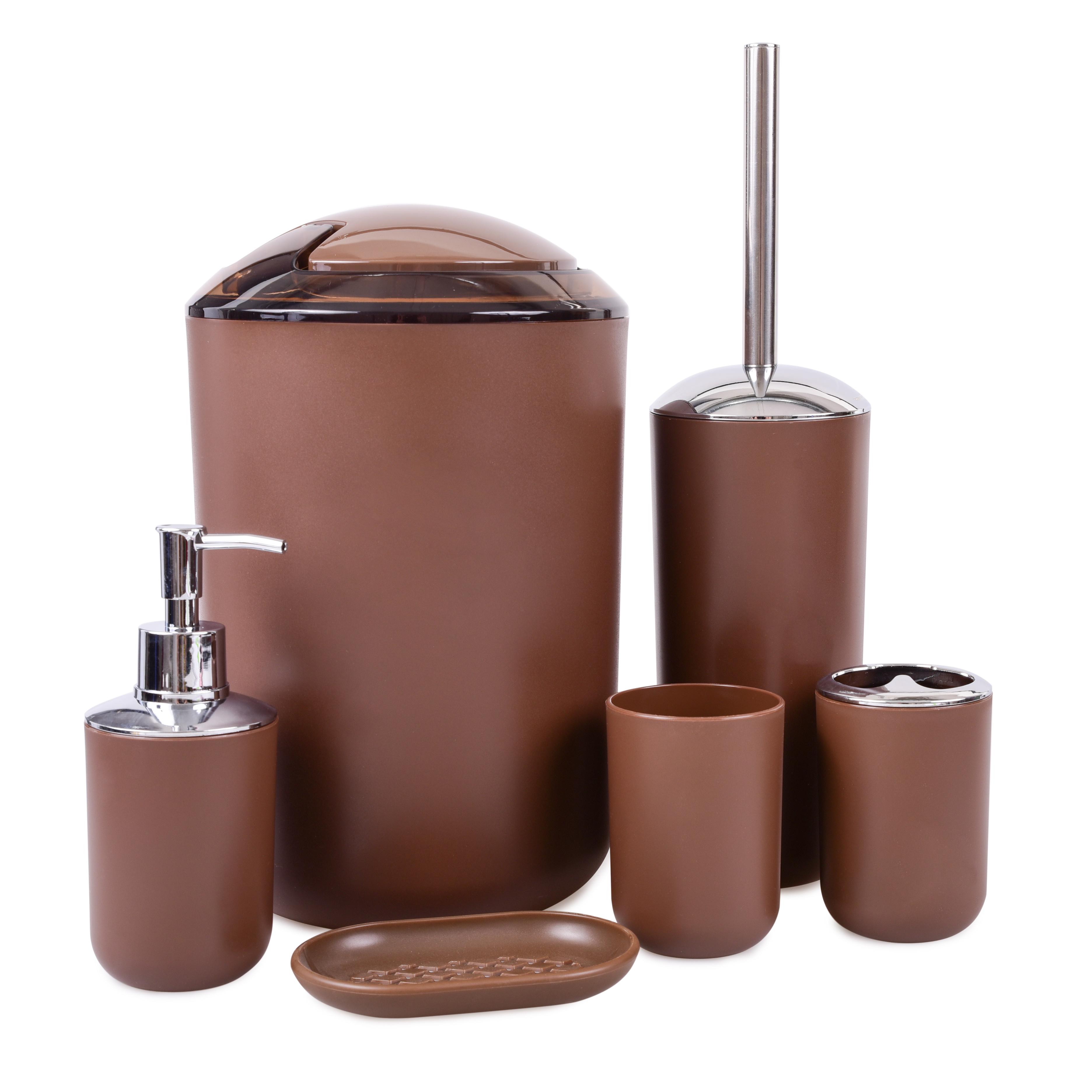 6 dílný koupelnový set čokoládový